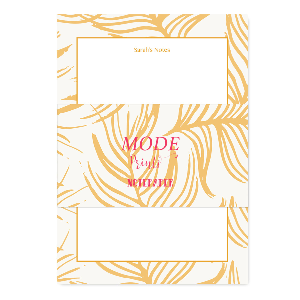 Personalised Gold Feathers Notepaper Set-Notepaper Sets-Mode Prints