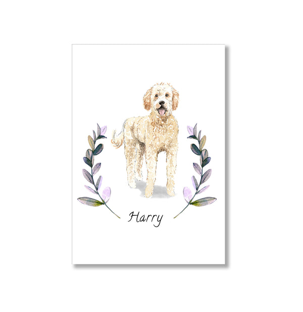 Personalised Golden Doodle Dog Art Print - Mode Prints