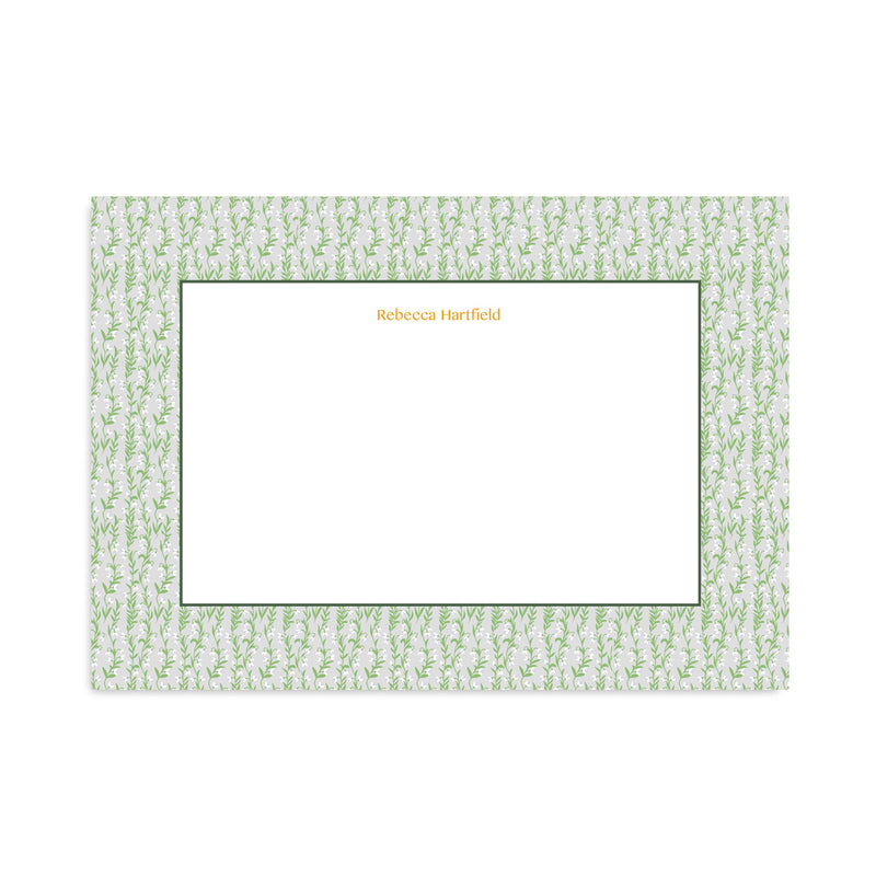Personalised Grey Floral Meadow Notepaper Set - Mode Prints