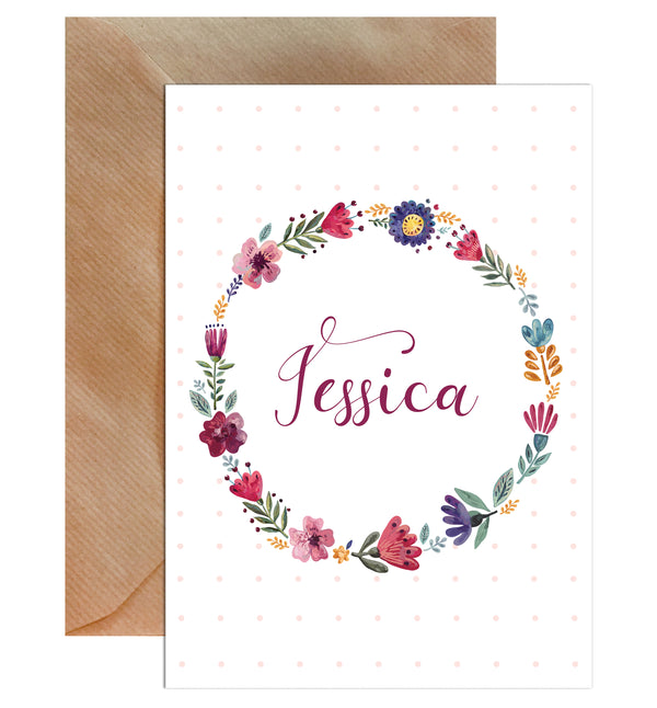 Personalised Name Floral Border Greeting Card - Mode Prints