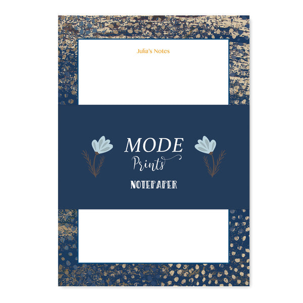 Personalised Navy Gold Sparkle Notepaper Set - Mode Prints