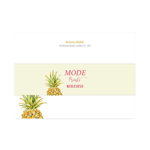 Personalised Pineapple Notepaper Set - Mode Prints