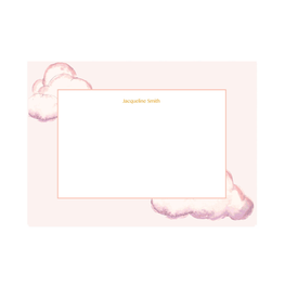 Personalised Pink Watercolour Cloud Notepaper Set
