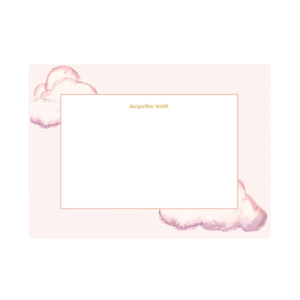 Personalised Pink Watercolour Cloud Notepaper Set - Mode Prints