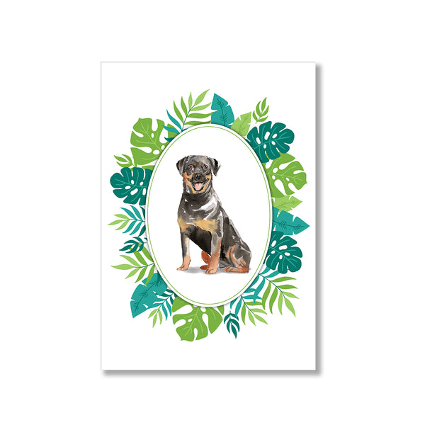Rottweiler Dog Botanical Watercolour Portrait Art Print - Mode Prints