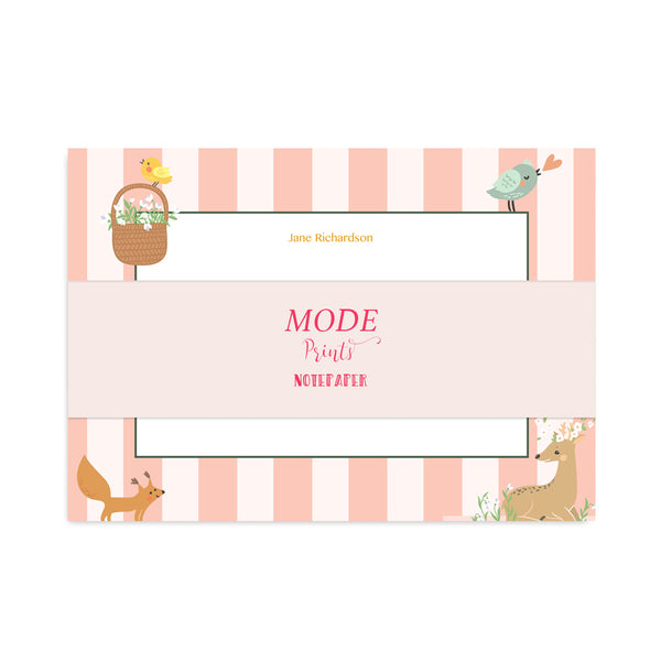 Personalised Spring Animals Notepaper Set - Mode Prints