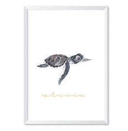 Personalised Turtle Watercolour Name Poster Print-Print-Mode Prints