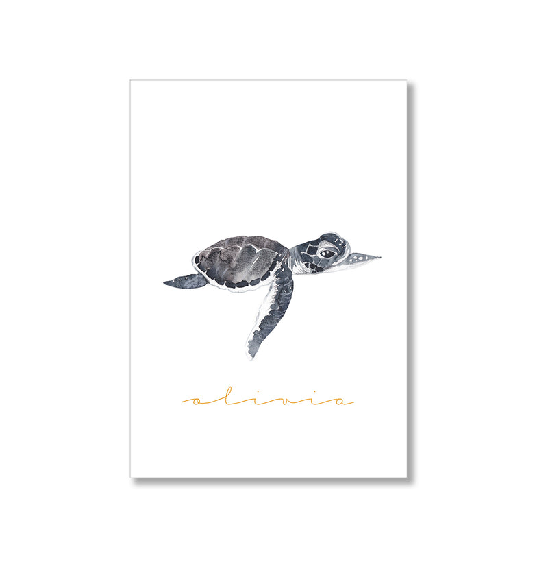 Personalised Turtle Watercolour Wall Art Print