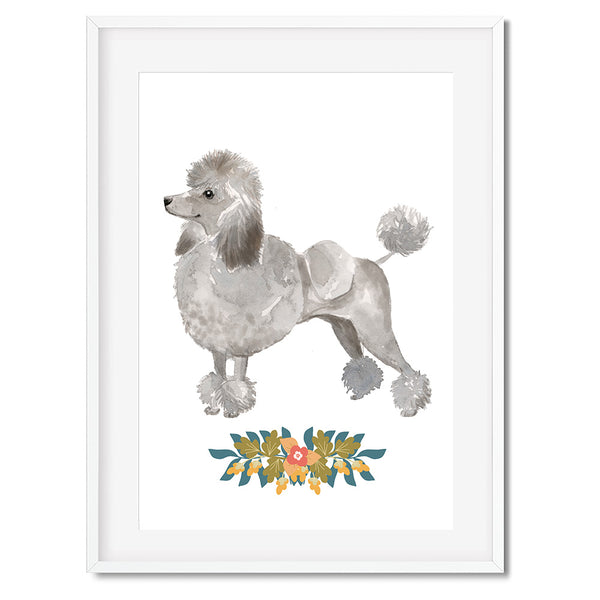 Grey Poodle Watercolour Dog Print