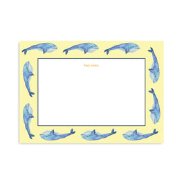 Personalised Watercolour Whale Notepaper Set - Mode Prints