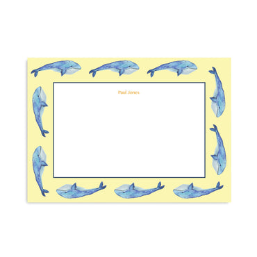 Personalised Watercolour Whale Notepaper Set-Notepaper Sets-Mode Prints