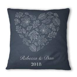 Personalised Navy Winter Heart Cushion