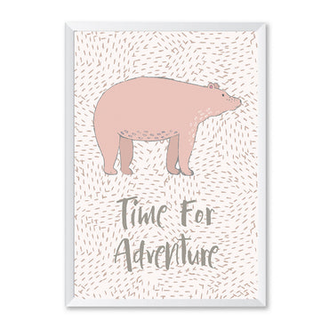 Pink Bear Time For Adventure Poster Print-Print-Mode Prints