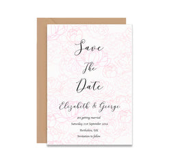 Pink Peonies Save The Date Wedding Card-Wedding Stationary-Mode Prints