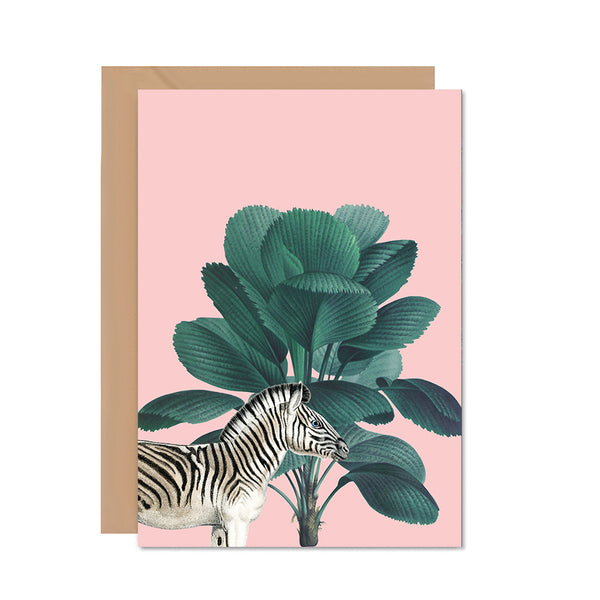 Pink Zebra Greeting Card