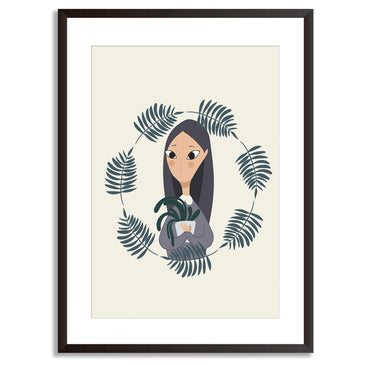 Plant Life Girl Potted Plant Art Print