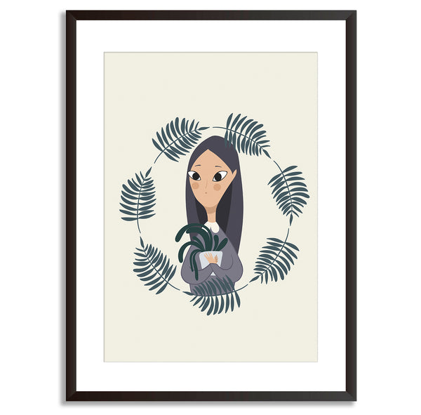 Plant Life Girl Potted Plant Art Print - Mode Prints