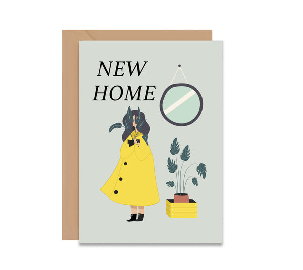 Plant Life Girl New Home Monstera Greeting Card - Mode Prints