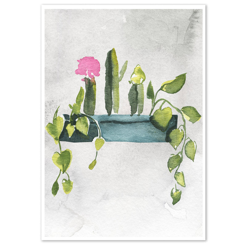 Watercolour Potted Plants Wall Art Print