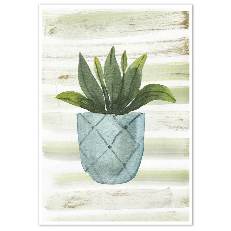 Watercolour Potted House Plant Wall Art Print