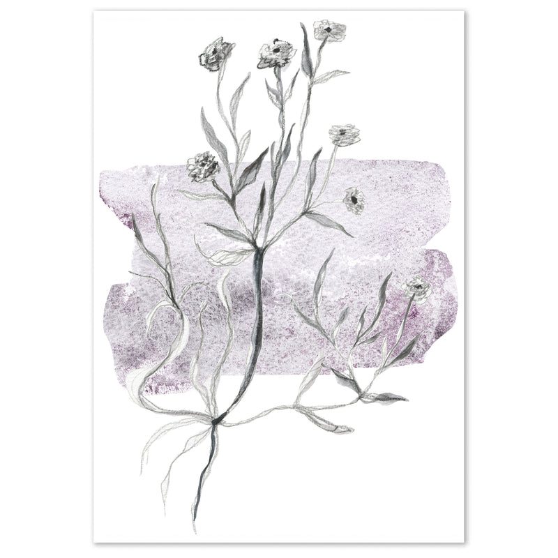 Watercolour Purple Abstract Leaf Wall Art Print