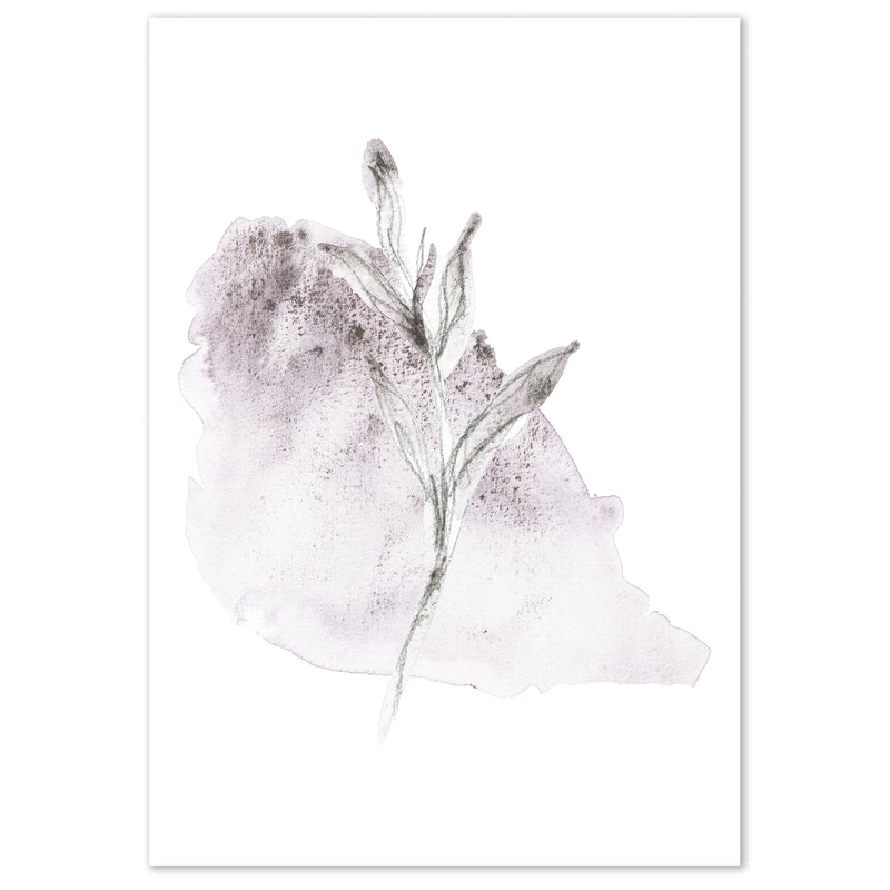 Watercolour Purple Abstract Leaf 2 Wall Art Print