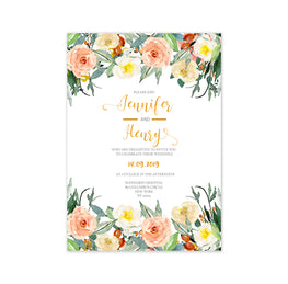Romantic Watercolour Flowers Wedding Invitation-Wedding Stationary-Mode Prints