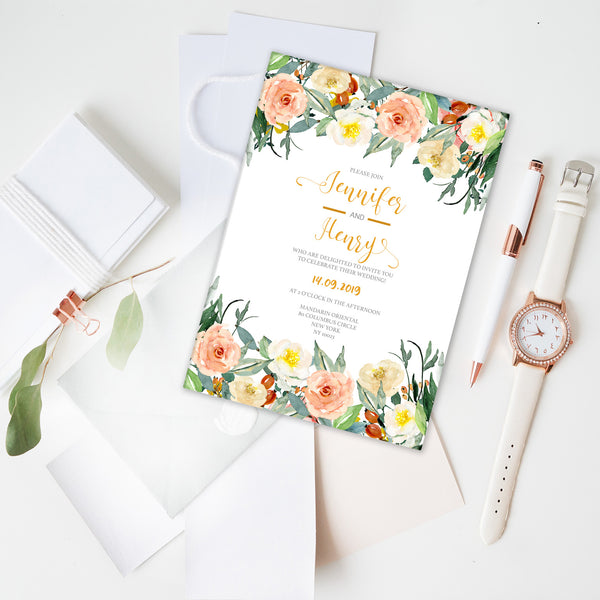 Romantic Watercolour Flowers Wedding Invitation - Mode Prints