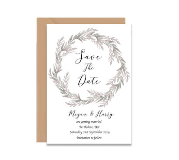 Royal Wreath Save The Dates Wedding Card-Wedding Stationary-Mode Prints