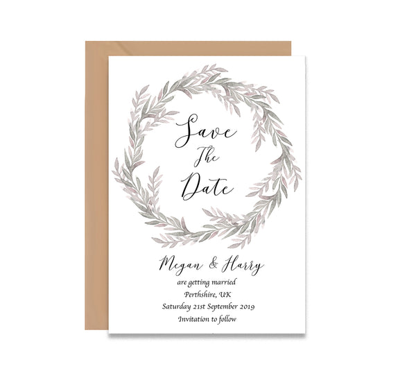 Royal Wreath Save The Dates Wedding Card - Mode Prints