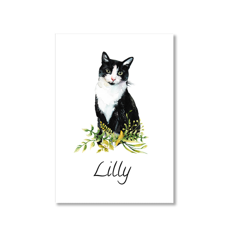 Personalised Black And White Cat Wall Art Print - Mode Prints