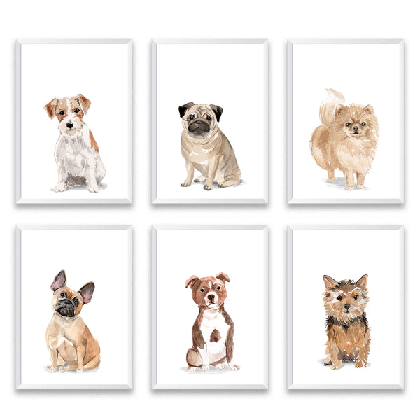 Set Of Six Dog Poster Prints - Mode Prints