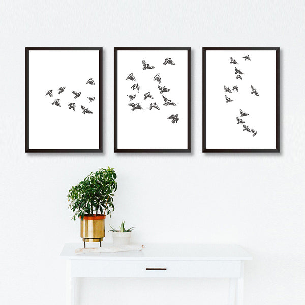 Set Of Three Bird Sketches Art Prints - Mode Prints