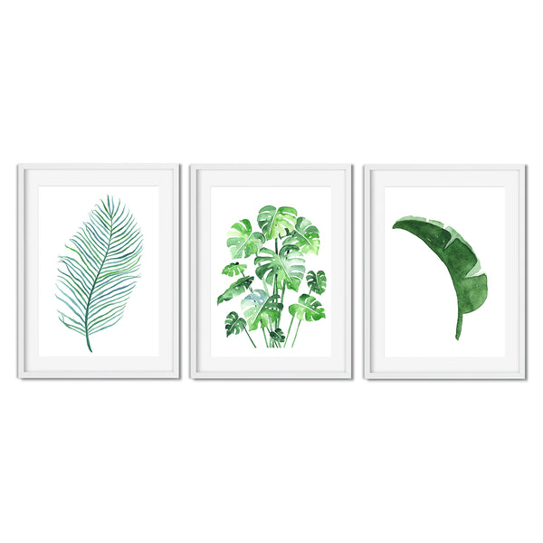 Set Of Three Watercolour Botanical Leaf Prints - Mode Prints