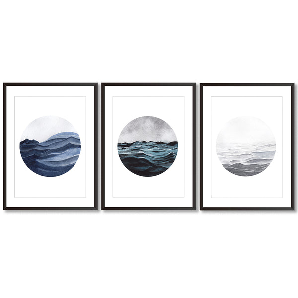 Watercolour Seascape Set Of Three Wall Art Prints