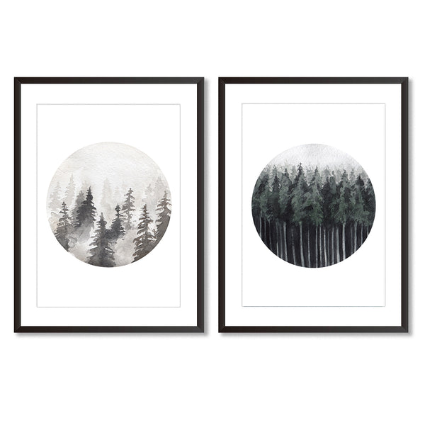 Watercolour Forest Art Print Set