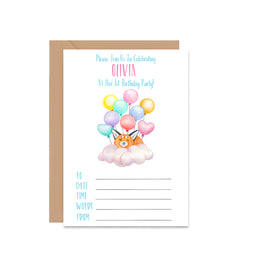 Fox Balloons Birthday Invitation Set - Mode Prints