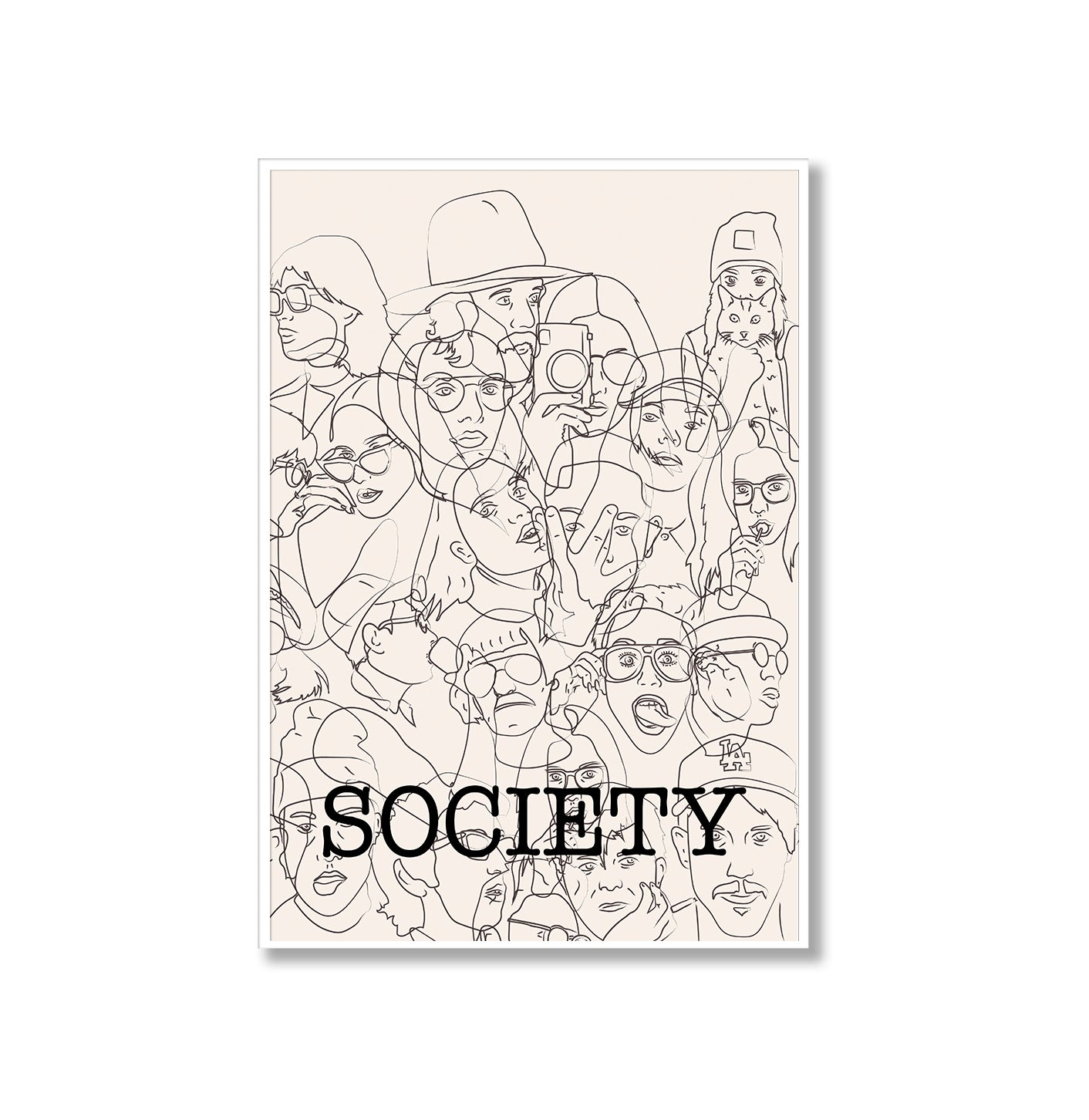 Society Portrait Sketches Poster Print