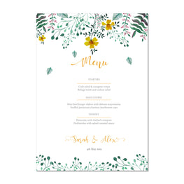 Spring Floral Wedding Menu