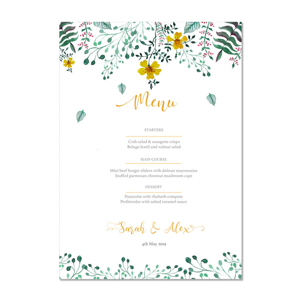 Spring Floral Wedding Menu - Mode Prints