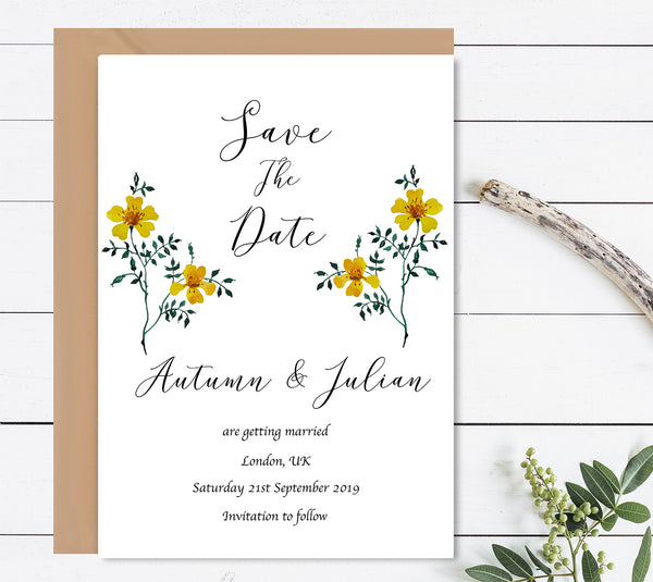 Spring Garden Save The Dates Wedding Card - Mode Prints