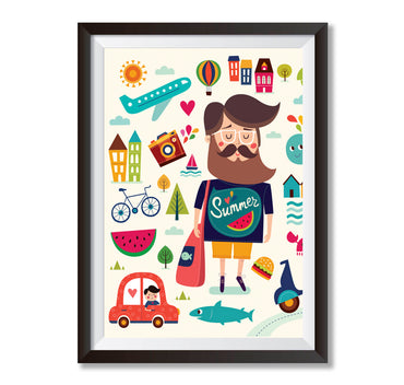 Summer Vacation Poster Print-Print-Mode Prints