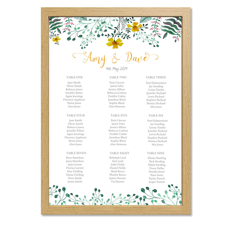 Spring Floral Wedding Table Plan - Mode Prints