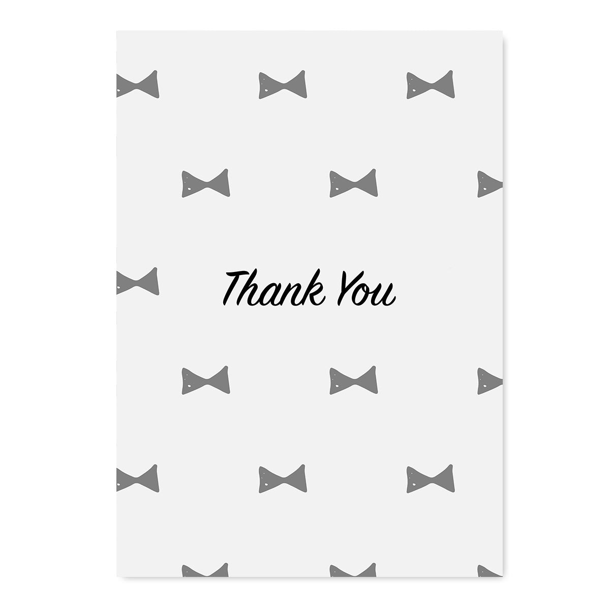 Thank You Grey Bow Tie Card-Greeting Cards-Mode Prints