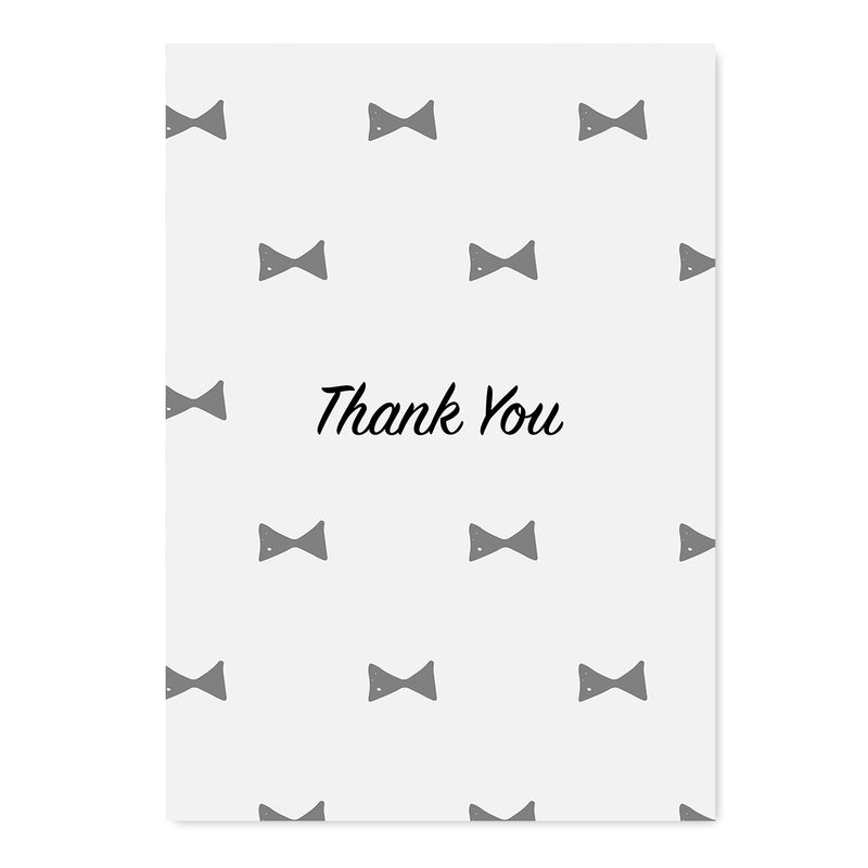 Thank You Grey Bow Tie Card - Mode Prints