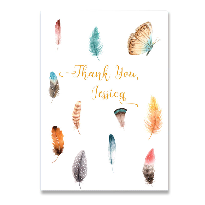 Personalised Thank You Feather Card - Mode Prints