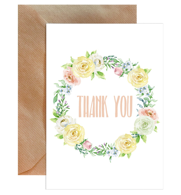 Thank You Floral Wreath Card - Mode Prints