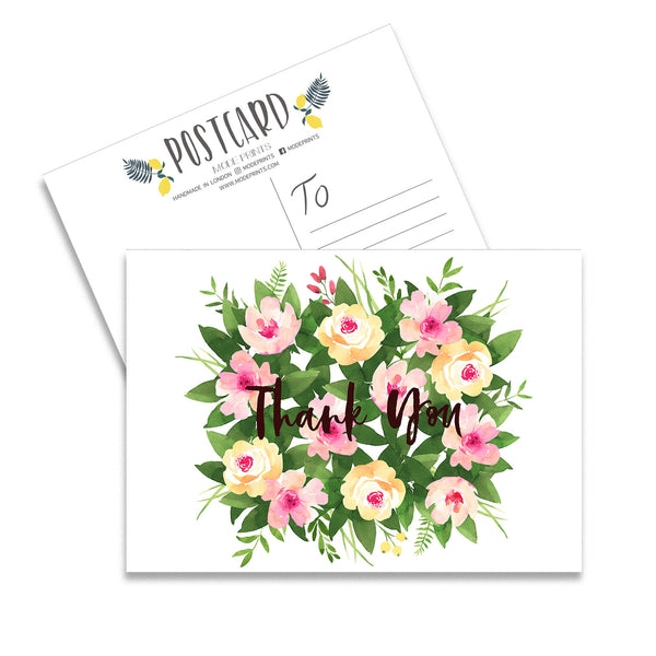 Thank You Floral Set Of 10 Postcards - Mode Prints