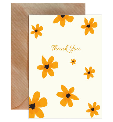 Thank You Golden Floral Card-Greeting Cards-Mode Prints
