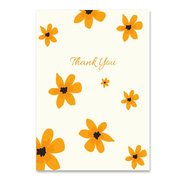 Thank You Golden Floral Card - Mode Prints
